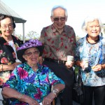Celebrating their 70th reunion at the Alumni Memorial Service were Dawn Anuha Fernandez, Dr. Ione Rathburn Ryan, Frederick Kamaka, Sr., and Arline Akina.