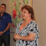 Alumni Coordinator Kapālama Campus Denise Kaaa KSKʻ84 introduced event presenters K. Melehina Groves KSKʻ95, Director Nohona Hawaiʻi Cultural Engagement at Kamehameha Schools, Manu Boyd KSKʻ80, a Cultural Consultant for Kamehameha Schools
