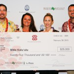 Keawe Liu, Pauahi Foundation Executive Director and Ka'eo Duarte, West Hawai'i Director of Strategic Initiatives with Mahi'ai Match-Up Agricultural Business Plan Contest First Place Winners, Māla Kalu'ulu. Team members: Mailani Souza and Dana Shapiro (missing Noa Lincoln).