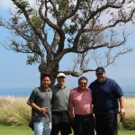R.M. Towill Corporation's team members, Timothy Luke KSK'10, his father Craig Luke and Dennis Kimura with Kamehameha Schools' Chief of Staff, <strong>Walter Thoemmes KSK'84</strong>