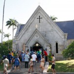 Celebrants are welcomed into Mauna ʻAla Chapel