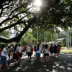 Alumni enter Mauna ʻala and head to the Kamehameha Crypt
