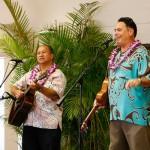 Cultural Specialist Kumu Hula Manu Boyd KSK'80 and Director, Ike Hawaii Cultural Development Keʻala Kwan entertain during lunch.