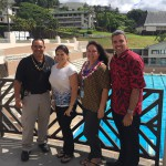 Class of 1996 members Tony Kalahui, Lahela Blake, Kaimana Kong, and Ikaika Anderson gather before the breakfast.