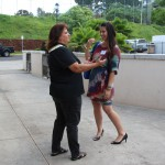 Pauahi Foundation Alumni Relations Coordinator Denise Kaʻaʻa KSK'84 chats with Michaelyn Nakoa KSK'94