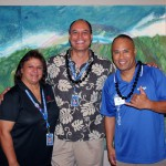 The Foundation's Alumni Coordinator Denise Ka'a'a KSK'84 and Pono Ma'a with Darrell Bactad KSK'83