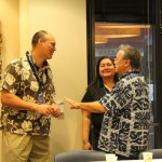 Pono Ma'a, the Foundation's Donor Relations Manager Bran-Dee Torres KSK'93, and Phillip Arnold KSK'63