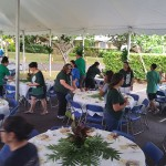 Team Kahiau volunteers set up for the lūʻau for over 400 participants.