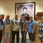 Alumni gathered for 1st Annual Hawaii Alumni Reunion Opening Chapel.  Enjoying launa aloha were Kaina Waiau KSK'70, Roy Alameida KSK'63, KSH Kahu Brian Boshard KSK'77, Jessica Waiau KSK' 04, Robin McAnally Waiau KSK'72, KSH Poʻo Kula M. Kāhealani Naeole-Wong KSK'87, and Director of Alumni Relations Dancine Baker Takahashi KSK'79.