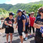 Juliette Yates Bissen KSK'57 and Ellie Pauole Keola KSK'80 talk story at the class rep huakaʻi