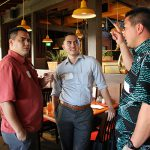 Meeting at our Warrior Networking in ʻEwa were Logan Freitas KSK'08, Justin Enos KSK'08 and B. Poʻokela Hanson KSK'01
