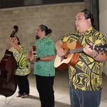 "Loke Fergerstrom, Scott ""Hoʻopono Von Wong, and Jonathan Honda, KSK 2014, entertain our alumni and guests with their nahenahe voices before the show begins."