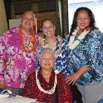 The Naipo 'ohana with 3 past song contest directors, Delmann, KSK '86, Elzadia Kaina, KSK '84, and Lina Langi, KSK '90 with their mom,  Annette Kaopio, KSK '63.
