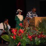 Class of 1952 Melvin Soong and Paulette Puaʻa Moore honor their classmates.
