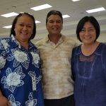George KSK'71 and Nadine Dochin enjoy the KSAA East Hawaiʻi Lūʻau with Dancine Takahashi KSK ʻ79, Assoc. Director Alumni Relations