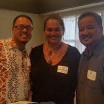 A. Kilohana Hirano KSK'94 CE&R East Hawaiʻi Regional Director, Pelika Andrade KSK'95, and D. Kaimana Barcarse CE&R West Hawaiʻi Regional Director enjoy the evening at Mai Grille by Chef Allen Hess.