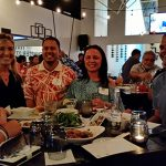 Warrior Networking in Hilo Town brought together alumni and KS leaders. Connecting at the event were Amber Waracka KSK'08, Tara Wilson, Director of Advancement, Kilohana Hirano, CE&R East Hawaii Regional Director, Nathalie Rahe-Yoshioka KSK'85, and Arthur Knowlton KSK'87.