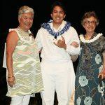 Lena Kaulumau Machado Haku Mele Fund-Presenter Roberta Na`auao Jahrling, Recipient Josiah Kunipo, Presenter Pi`olani Motta