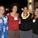 KS Class of 1979's Dancine Baker, Jan Burns and Kehau Pruett with their class scholarship recipient Celeste Akana (center).