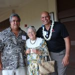 Donors Keolu Bento KSK'77 and Aunty Gussie Rankin Bento KSK'50 with the Pauahi Foundation's Pono Ma'a.