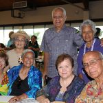 Class of 1957 kick off their reunion at the Poʻo Kula Reception.