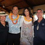 Poʻo Kula Taran Chun KSK'95 and wife Nizhoni welcome class of 1967 Brenda Lum Maika and spouse Tau.