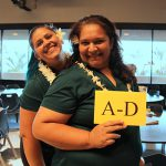 Manpower team Amber Waracka KSK'08 and T. Kalei Adams-Kaonohi KSK'92, Parent Alumni Relations Coordinator.