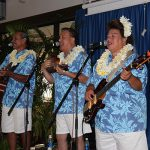 Kawika Trask Trio serenading the alumni at the Poʻo Kula Reception.