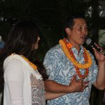 Poʻo Kula Dr. Taran Chun KSK'95 and wife Nizhoni welcome everyone back home.