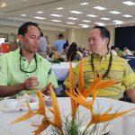 KSAA No. Hawaiʻi President Spencer Wong KSK'90 and CEO Jack Wong sharing manaʻo during the KSAA East Hawaiʻi Scholarship Lūʻau.